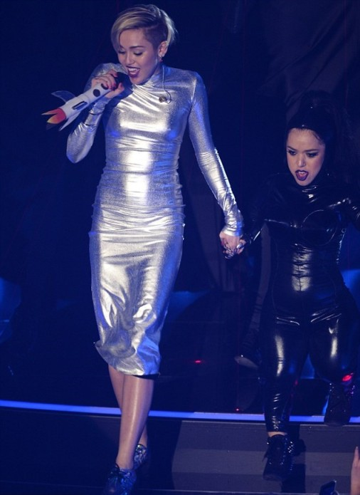Miley Cyrus Silver Space Midi Long Sleeved Dress EMA MTV 2013 Amsterdam