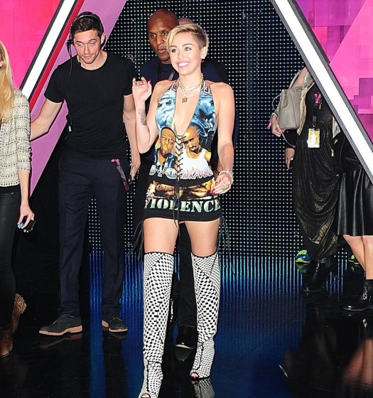 Miley Cyrus Stop The Violence Dress Front Over The Knee Boots EMA Amsterdam 2013 StyleChi