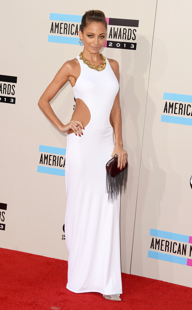 Nicole Richie WHite Cut Out Backless Floor Length Dress 2013 AMA Americam Music Awards AMAs