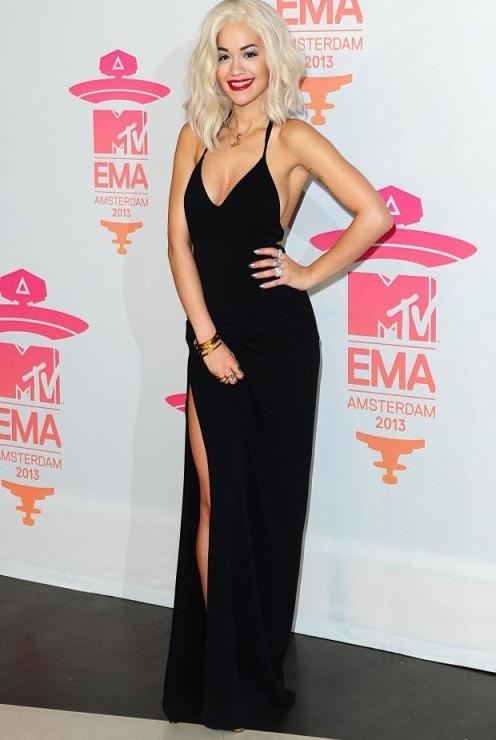 Rita Ora EMA 2013 Amsterdam Black Dress Split StyleChi