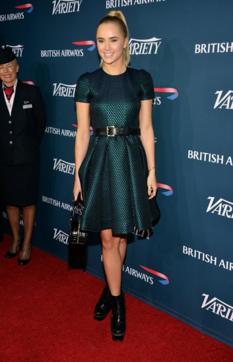 Suki Waterhouse Mulberry Blue Belted Textured Skater Dress Platform Boots British Airways Inaugural Party