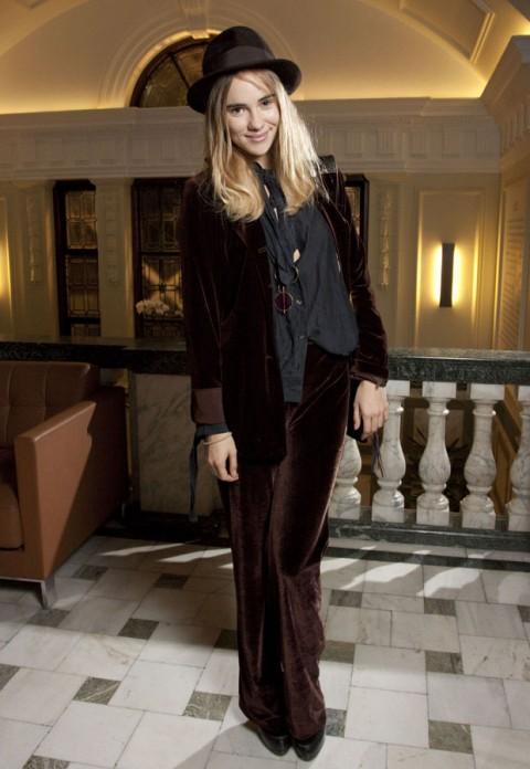 Suki Waterhouse StyleChi 2012 Dark Brown Velvet Blazer Flared Trousers Hat