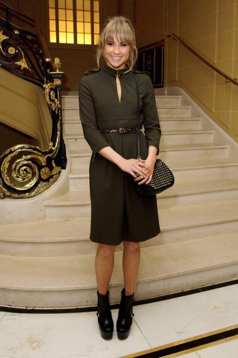 Suki Waterhouse StyleChi 2013 Military Dress Khaki Belted Studded Black Back Platform Boots