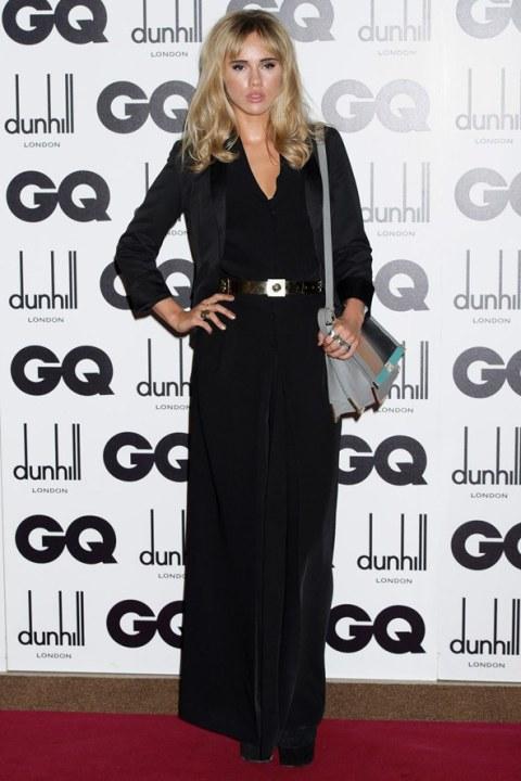 Suki Waterhouse StyleChi Black Blazer Black Trouser Dress V-Neck Colour Block Grey Black Taupe Bag Metallic Belt