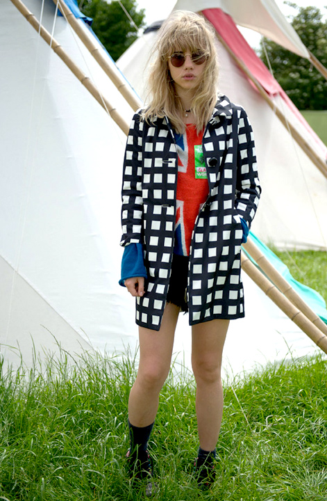 Suki Waterhouse StyleChi Black White Check Coat Union Jack Jumper Shorts Sunglasses Festival Style