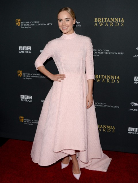 Suki Waterhouse StyleChi Emilia Wickstead 2013 Pink High Neck Hi Lo Dress BAFTA LA Britannia Awards