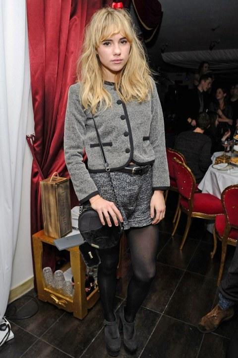 Suki Waterhouse StyleChi Grey Blazer Black trim Marl Grey Shorts Platform Heels