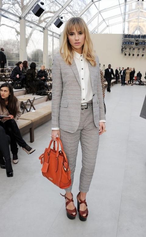 Suki Waterhouse StyleChi Grey White Striped Suit White Shirt Brown Strappy Platform Sandals Orange Bag