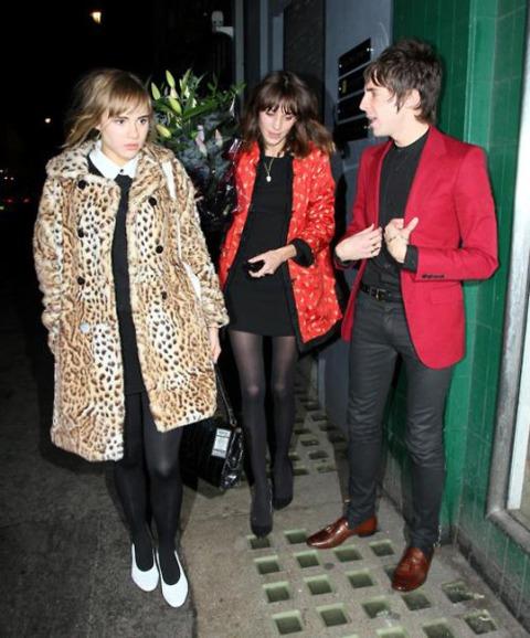 Suki Waterhouse StyleChi Miles Kane Alexa Chung Leopard Fur Coat White Shoes Shirt Black Outfit