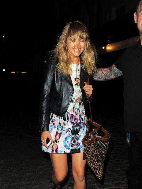 Suki Waterhouse StyleChi Print Dress Leather Jacket Brown Bag