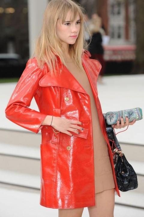 Suki Waterhouse StyleChi Red Patent Leather Midi Belted Coat Nude Mini Dress