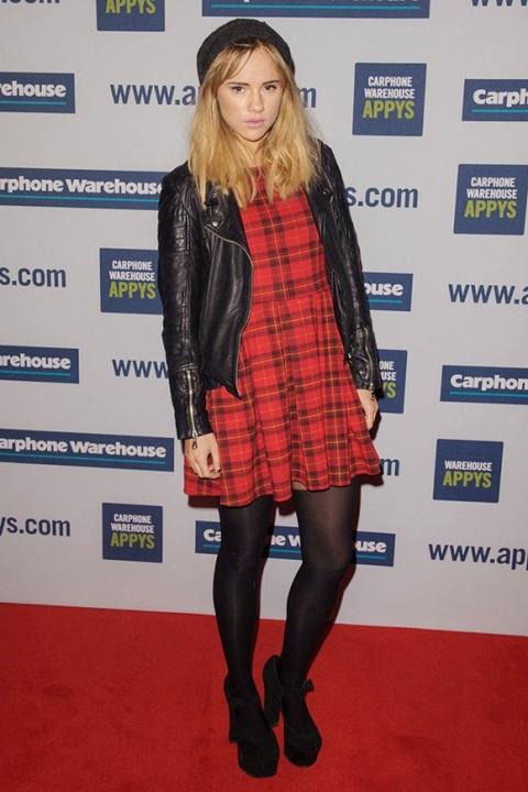 Suki Waterhouse StyleChi Red Tartan Dress Black Beanie Leather Jacket Tights Platform Heels
