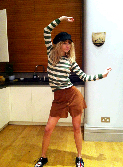 Suki Waterhouse StyleChi Union Jack Creepers Green White Striped Top Brown Scallop Trim Suede Shorts Black Cap
