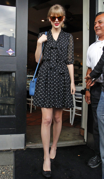 Taylor Swift Black Polka Dot Dress Floaty Bow Half Sleeve Blue Satchel