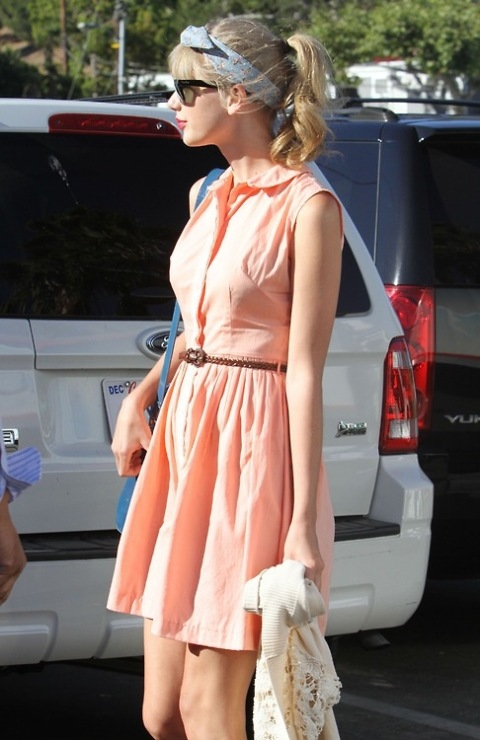 Taylor Swift StyleChi Belted Peach Sleeveless Shirt Dress Headband Sunglasses