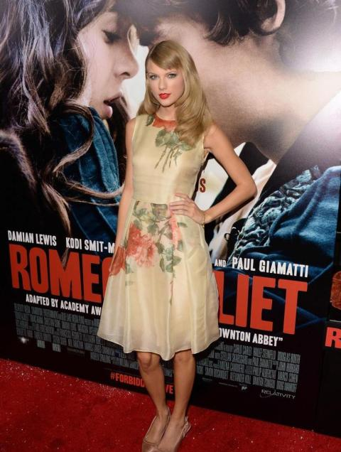 Taylor Swift StyleChi Champagne Floral Sleeveless Dress