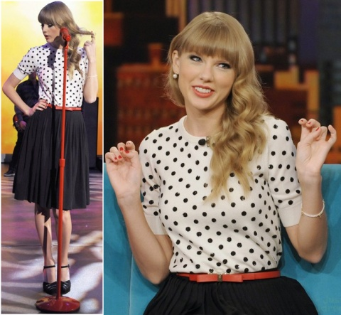 Taylor Swift StyleChi Cream Polka Dot Sweater Black High Waisted Skirt Red Belt