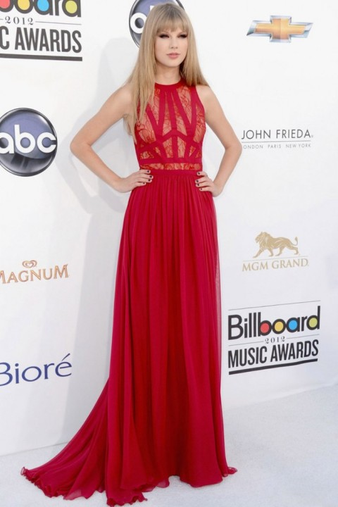 Taylor Swift StyleChi Elie Saab Red Dress Lace Panel