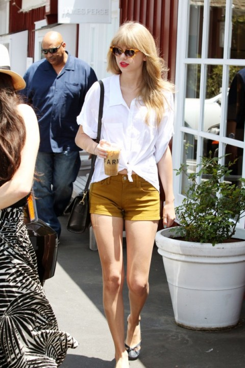 Taylor Swift StyleChi Knotted White Shirt Mustard Shorts Ballerina Flats