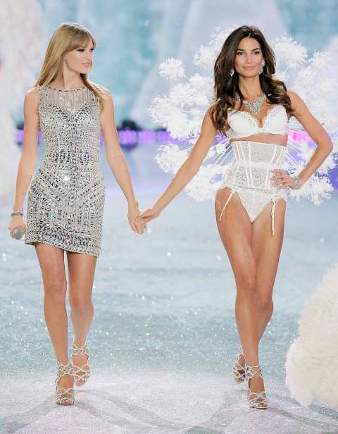 Taylor Swift StyleChi Lily Aldridge Victoria's Secret Angles Show 2013 Silver Sequin Dress