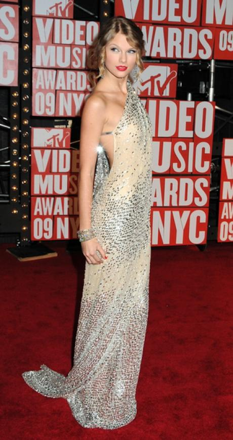 Taylor Swift StyleChi Mermaid Style Sequin Asymmetric Dress White Silver Tones Red lips