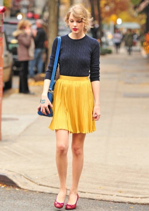 Taylor Swift StyleChi Navy able Knit Sweater Mustard High Waisted Skirt Red Ballerinas Turquoise Satchel