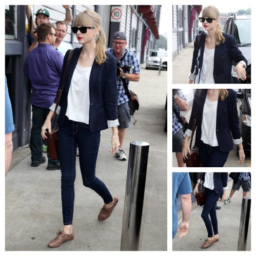 Taylor Swift StyleChi Navy Blazer White Top Skinny Jeans Brown Brogues Sunglasses Red Lips Brown Satchel