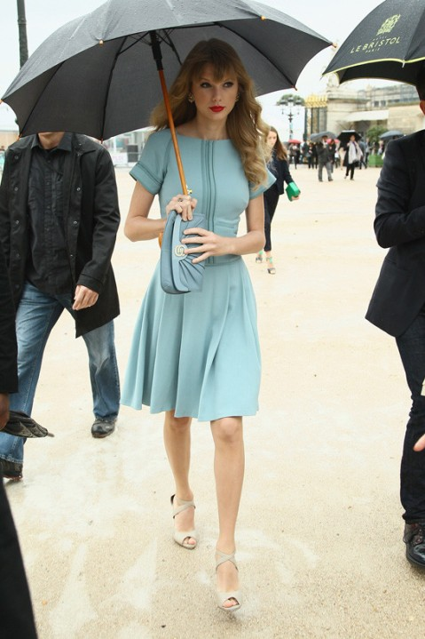 Taylor Swift StyleChi Paris Mint Green Dress Clutch Nude Sandals