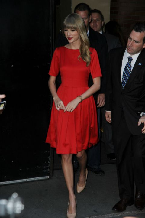 Taylor Swift StyleChi Red Half Slave Skater Dress