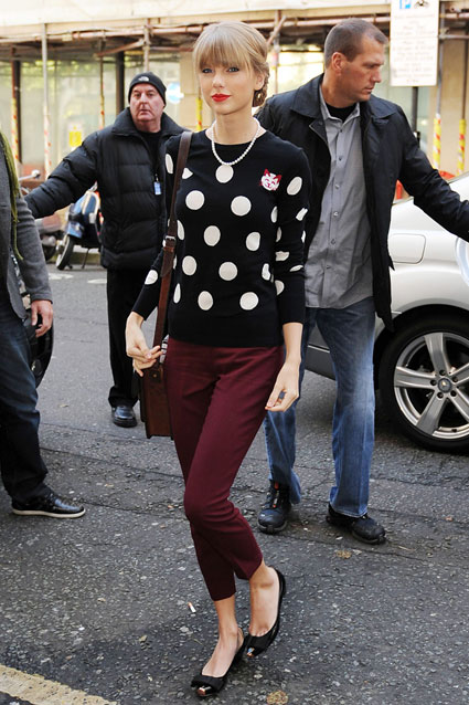 Taylor Swift StyleChi Red Lips Black Polka Dot Sweater Oxblood Cropped Trousers