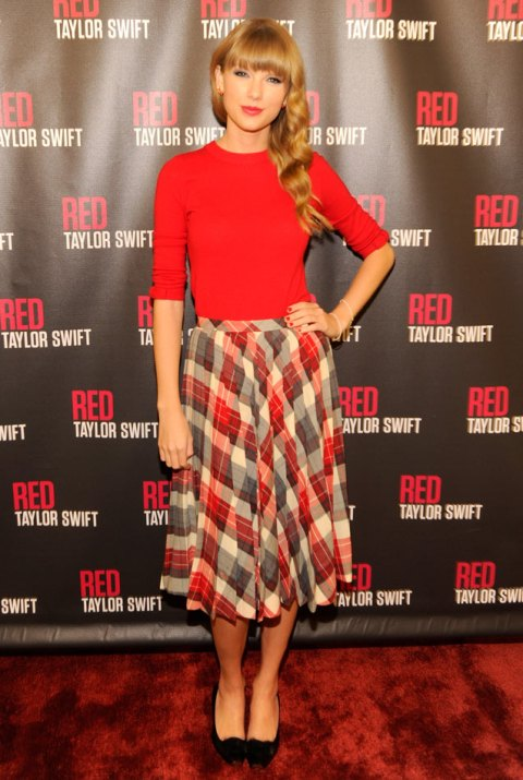Taylor Swift StyleChi Red Sweater Check Pattern High Waist Midi Length