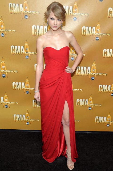 Taylor Swift StyleChi Red Sweetheart Neckline Bustier Split Dress