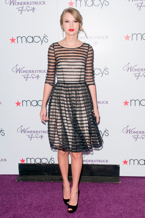 Taylor Swift StyleChi Sheer Striped Overlay Half Sleeve Dress Black Peep Toes