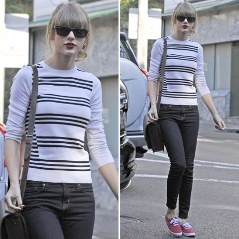 Taylor Swift StyleChi Striped Sweater Skinny Jeans Red Plimsoles Sunglasses Red Lips