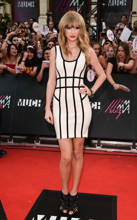Taylor Swift StyleChi White Bodycon Dress Black Inserts Strappy Sandals