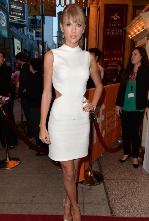 Taylor Swift StyleChi White High Neck Cut Out Dress