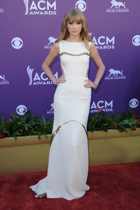 47th Annual Academy Of Country Music Awards - Arrivals - taylor-swift-stylechi-white-long-sleeveless-cut-out-dress-gold-inserts
