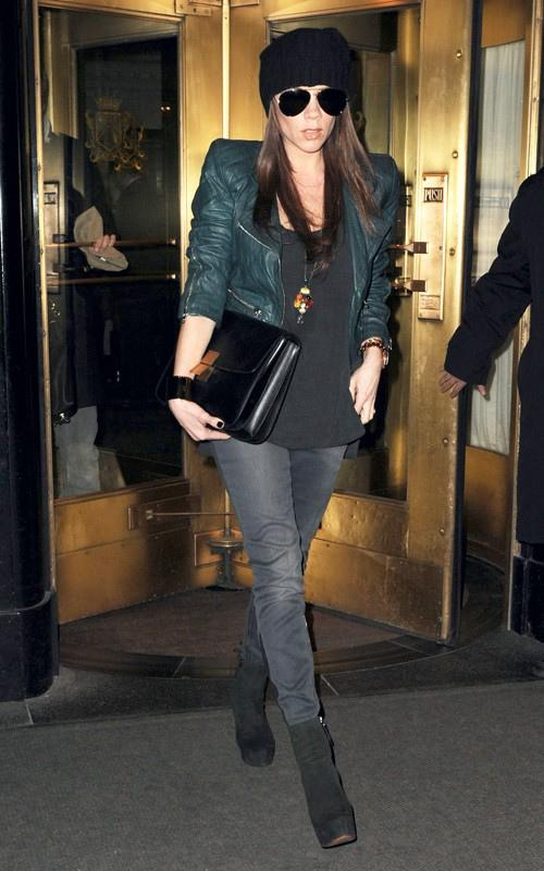 Victoria Beckam StyleChi Green Leather Jacket Black Suede Boots Jeans Beanie Sunglasses