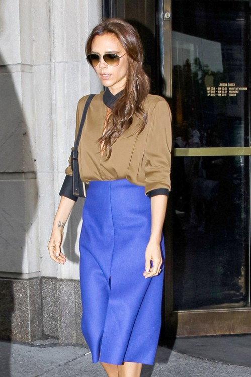 Victoria Beckham 2013 Sunglasses Royal Blue Skirt Brown Top Black Collar