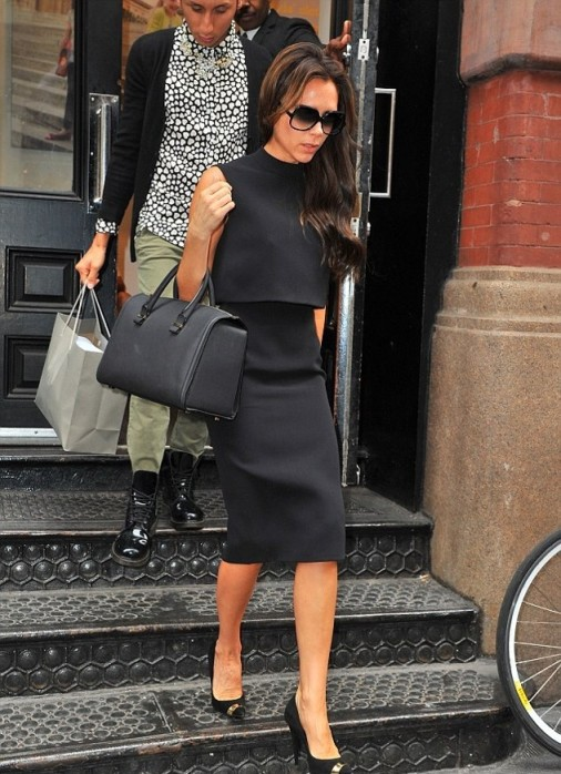 Victoria Beckham Black Dress Overlay Top Sunglasses StyleChi