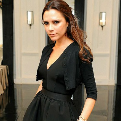 Victoria Beckham Black V-Neck Dress Cropped Cardigan StyleChi