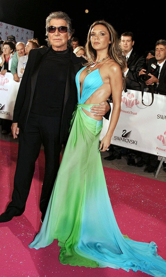 Victoria Beckham Blue Green Cut Out Gown StyleChi