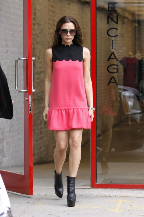 Victoria Beckham Bright Pink Black Scallop Collar Dress Black Boots Sunglasses Balenciaga StyleChi