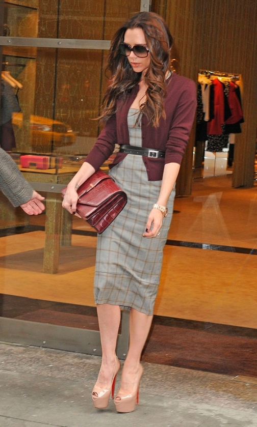 Victoria Beckham Checked Grey Dress Nude Peep Toes Oxblood Cardigan Burgundy Bag StyleChi