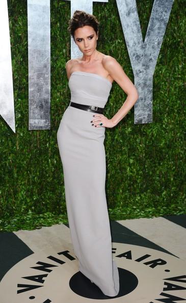 Victoria Beckham Grey Bustier Belted Maxi Dress StyleChi