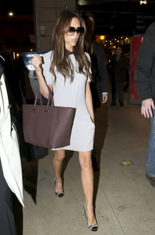 Victoria Beckham Grey Shift Dress Plum Tote Collar Shoes Sunglasses StyleChi