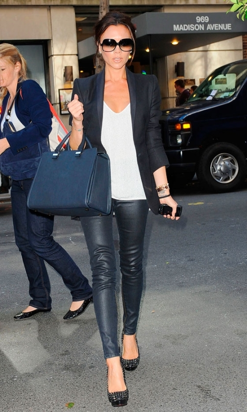 Victoria Beckham Navy Bag Jacket Leather Trousers Studded Heels WHite Top Sunglasses StyleChi