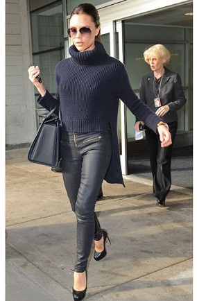 Victoria Beckham Navy Ribbed Hi Lo Polo Neck Navy Leather Trousers Sunglasses StyleChi