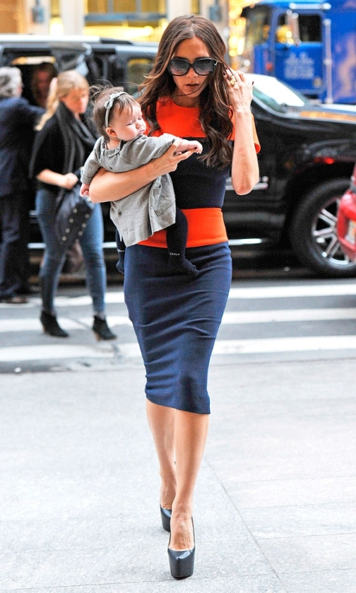 Victoria Beckham Orange Navy Colour Block Dress Daughter StyleChi