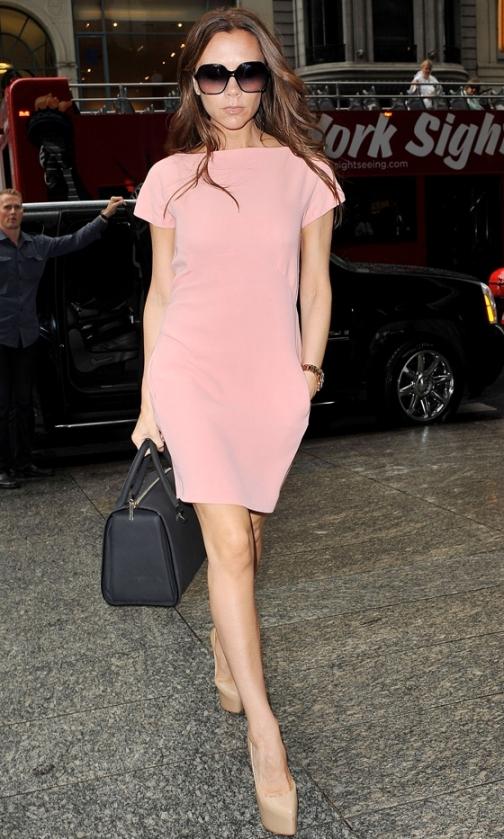 Victoria Beckham Pink Dress Nude Heels Sunglasses StyleChi